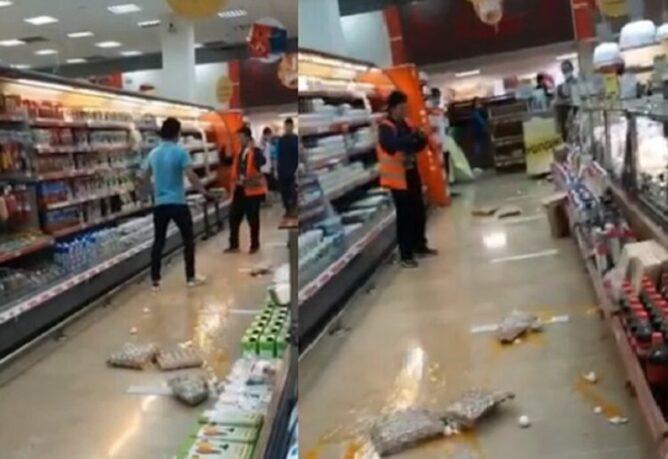 Женщина с ножом устроила погром в супермаркете Нур-Султана