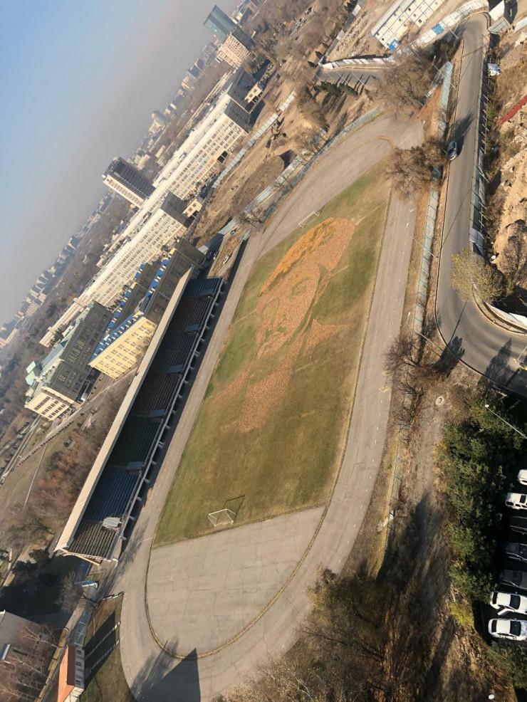 Студенты из Алматы нарисовали на футбольном поле портрет аль-Фараби из листьев